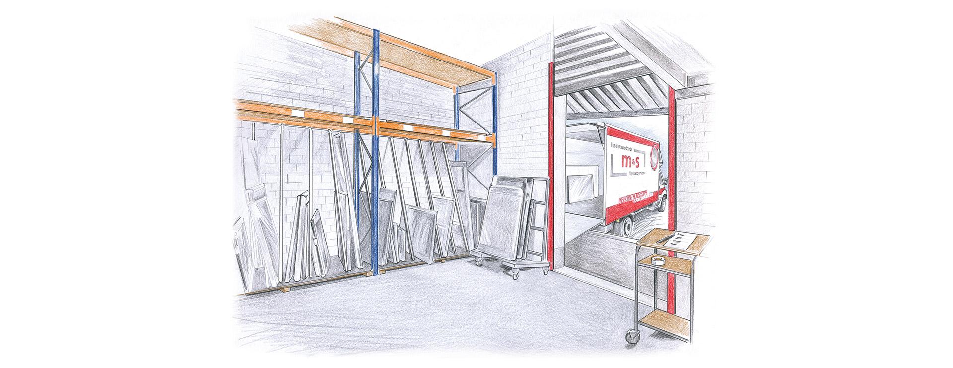 Zeichnung Logistik bei m&s Sprossenelemente in Büren