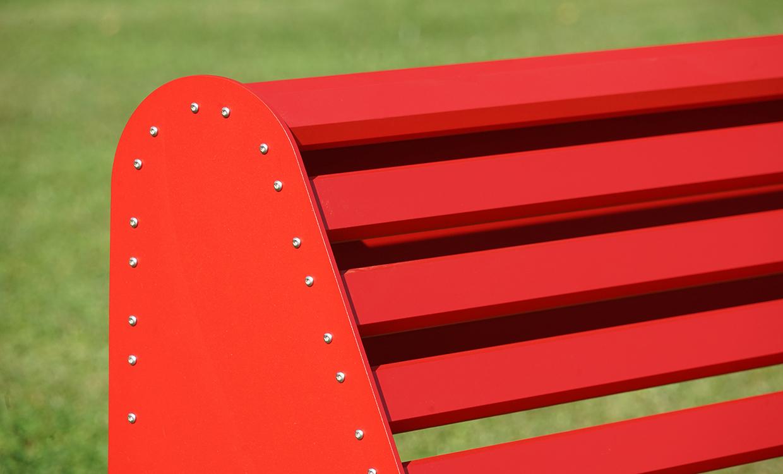 rote Parkbank Sitzbank aus Alu - Aluminiumgartenmoebel
