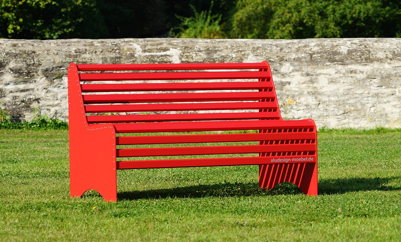 Sitzbank rot - Aluminiumgartenmoebel