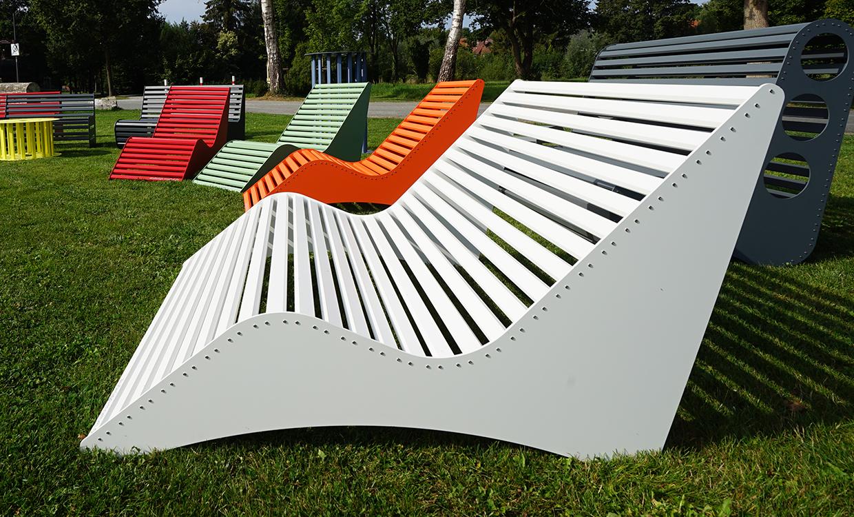 breite Relaxliege aus Alu - Aluminiumgartenmoebel