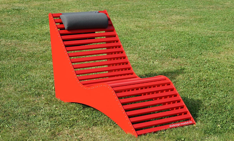 rote Relaxliege aus Alu - Aluminiumgartenmoebel