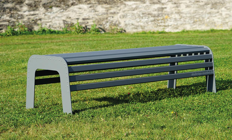 Gartenbank Aludesign 150 cm breit grau