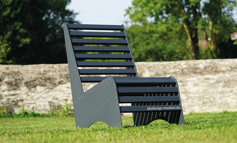 Loungesitz aus Aluminium für den Außeneinsatz - dunkelgrau von Aludesign Möbel