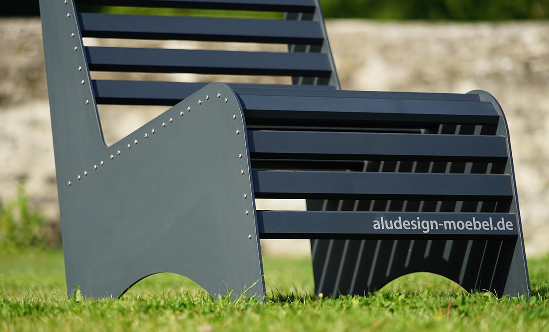 Loungesitz aus Aluminium für den Außeneinsatz - dunkelgrau von Aludesign Möbel - Detail