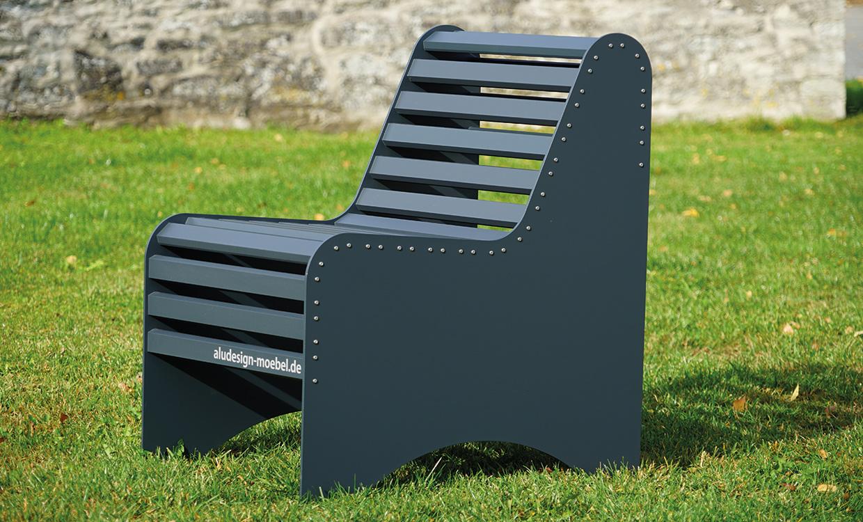Parkbank aus Alu dunkelgrau - Aludesign Möbel