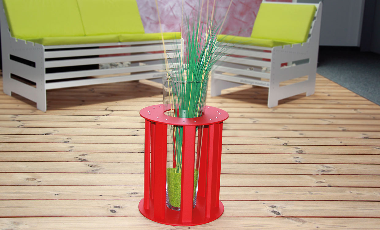Aludesign Cava - Vase aus Aluminium und Glas