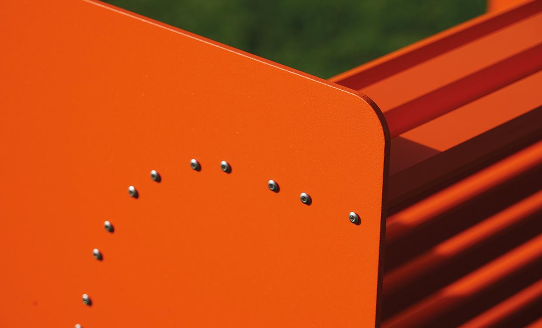 ms alu-design moebel Sitzbank Silence aus Alu Detail