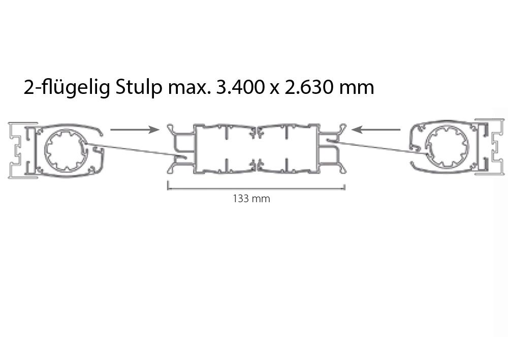 Insektenschutz Plissee Rollo - 2-flügelig Stulp max. 3.400 x 2.630 mm