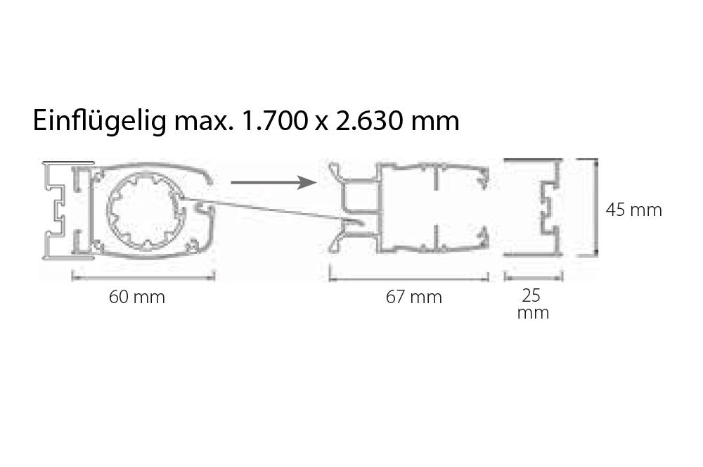 Insektenschutz Plissee Rollo - Plissee-Rollo Einflügelig max. 1.700 x 2.630 mm