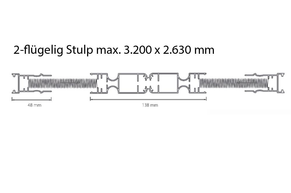 Plissee 25 - 2-flügelig Stulp max. 3.200 x 2.630 mm