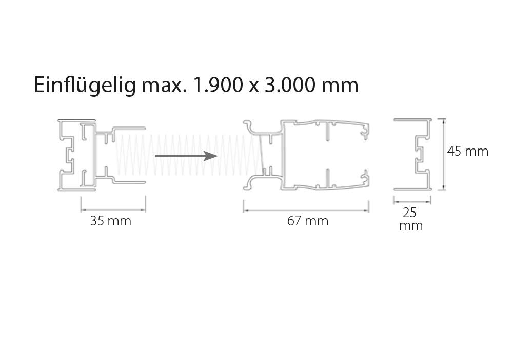 m&s Plissee 45 - Einflügelig max. 1.900 x 3.000 mm