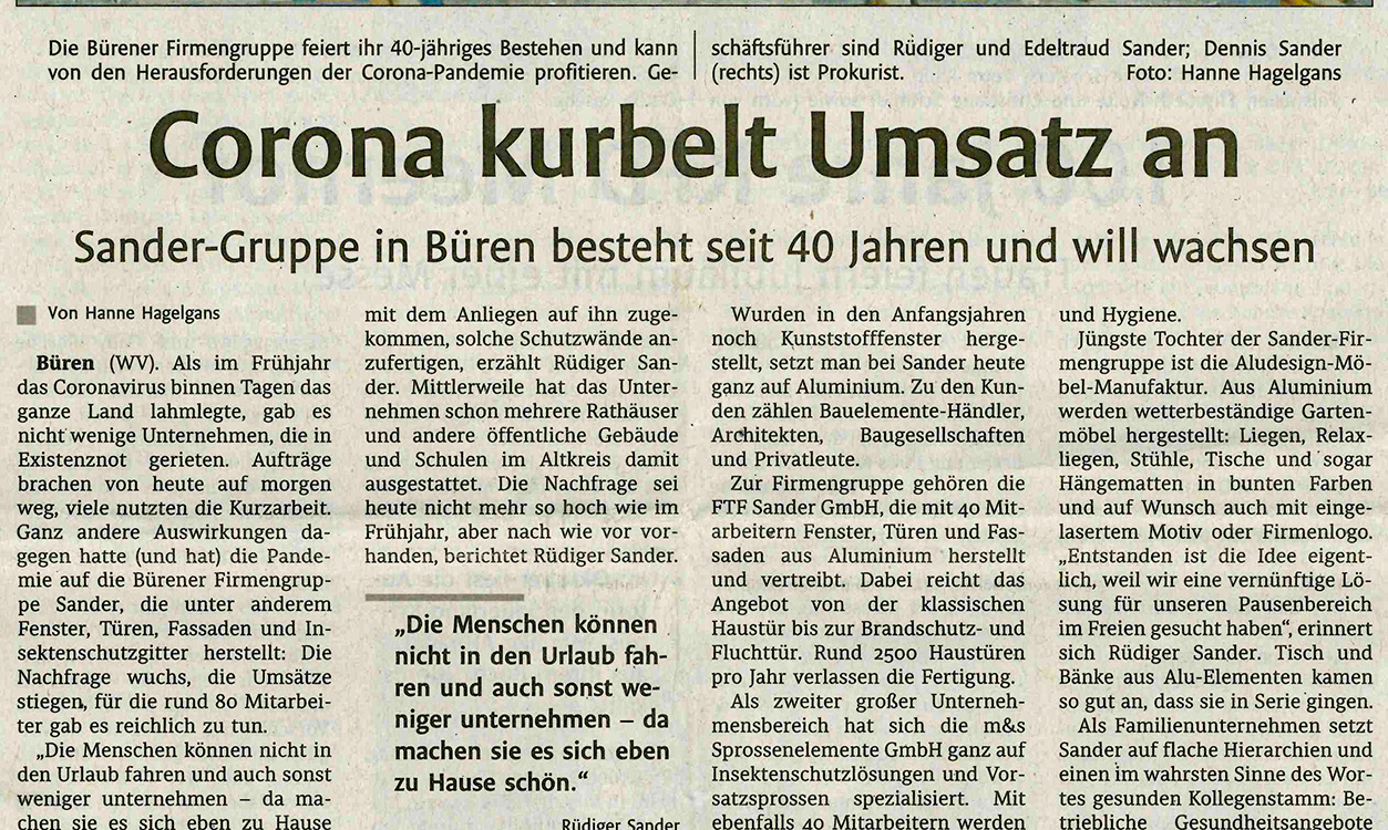 """Corona kurbelt Umsatz an - Sander-Guppe in Büren besteht seit 40 Jahren und will wachsen"""""""