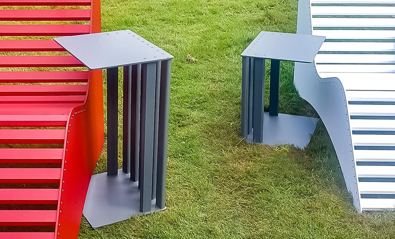 Alutisch 60 und42 cm hoch von Aludesign Möbel