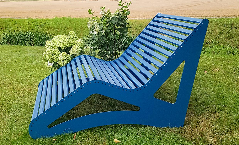 blaue Gartenmöbel aus Aluminium - Relaxliege XL Style für 1- 3 Personen