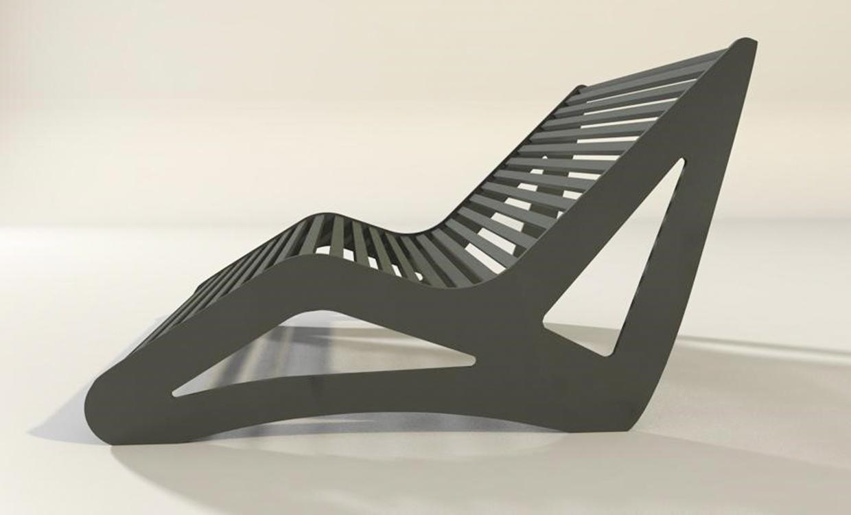 blaue Gartenmöbel aus Aluminium - Relaxliege XL Style
